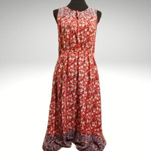 Lucky Brand Red Floral Sleeveless Felice Dress L